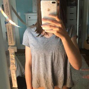 zara grey v-neck crop top